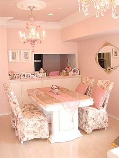 Pastel pink walls & white trim