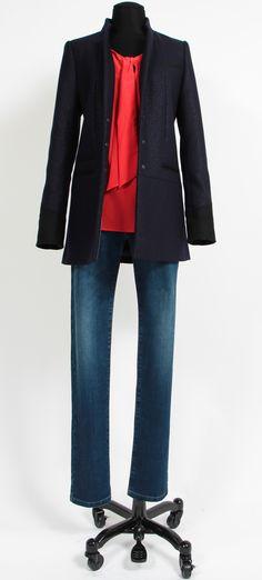1.2.3 Paris - Manteau Zylis / Blouse Basile / Jean Vesuve #mode #automne #123 #bleu #rouge #denim #british