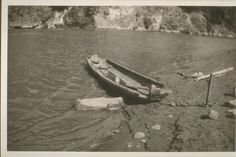 Hoopa dugout canoe, Trinity River 1934.  Contributed by: UC Berkeley, Bancroft Library