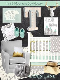 This mint and mountains adventure themed nursery is more than adorable for a baby boy. Loving that Woodland Deer Crib Bedding from Caden Lane!