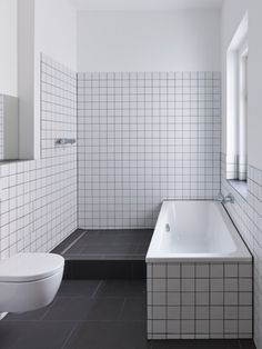 very straightforward in style, black and white chequered tiles
