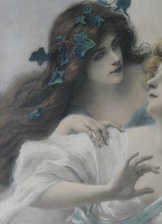 Two Maidens, detail (1903) Oil on canvas by  Edouard Bisson  (1856-1939) French.
