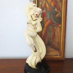 Mid Century Chalk Lamp Belly Dancer Novelty Chalkware Table