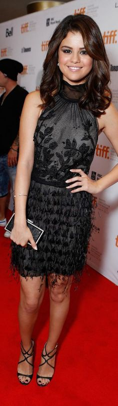 Selena Gomez mini dress #black #cocktail #chic #fashion