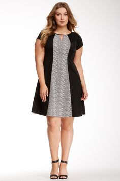 Sandra Darren Keyhole Contrast Panel Dress (Plus Size) on HauteLook