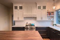 IKEA seattle kitchen (tuxedo, butcher block island, subway tile)