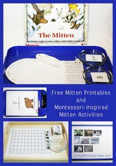 Montessori-Inspired Mitten Activities Using Free Printables (my monthly post at PreK + K Sharing)