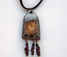 Gourd Jewelry Necklace with Clear Quartz and Garnet  by John and Jeanne Fry | ConsciousArtStudios - Jewelry on ArtFire