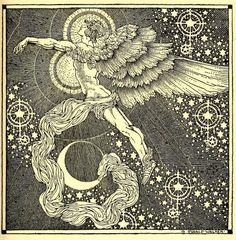 """Rainbow gold: poems old and new selected for boys and girls, 1922 Illustrations Dugald Stewart Walker. Illusration for """"Israfel"""" by Edgar Allen Poe. """"In Heaven a spirit doth dwell   Whose heart-strings are a lute; None sing so wildly well As the Angel Israfel"""""""