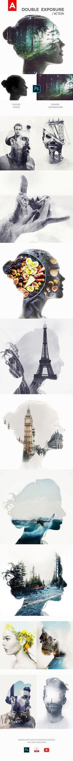 DOWNLOAD: goo.gl/rebNpGDouble Exposure Action– This double exposure action is a photoshop action which uses uses 2 photographs and blends them in to create a very nice doubl...