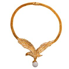 Lalaounis  Diamond Eagle Gold Necklace | From a unique collection of vintage drop necklaces at https://www.1stdibs.com/jewelry/necklaces/drop-necklaces/