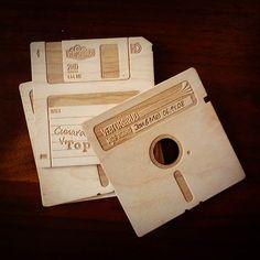 wood engraved floppy disk