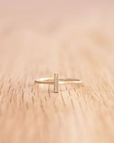 Gold Diamond Bar Ring by Satomi Kawakita