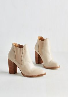 Oh Yes You Did Bootie by Chinese Laundry - Mid, Faux Leather, Cream, Solid, Casual, Boho, Menswear Inspired, Fall