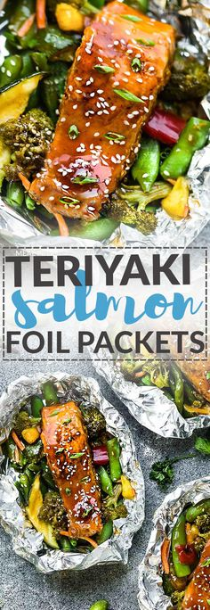 Teriyaki Salmon Foil Packets with Vegetables is the perfect easy campfire or weekly dinner recipe for summer cookouts, busy weeknights or camping. A complete meal with practically no clean up (can use parchment as well as tin foil) and full of your favorite sweet and savory Asian-inspired meal with perfectly tender and flaky salmon, edamame, broccoli, pineapple and red bell pepper. Make a batch for Sunday meal prep and pack it up for your lunchbox or lunch bowls.