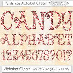 Red Candy Cane Alphabet Clipart Christmas Alphabet Clipart Christmas Text Clip Art Christmas Letters by skaior #candy #cane #christmas #alphabet #text #letters #red #clipart #etsy #clip #art #scrapbooking #typography