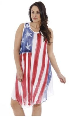 0b1b9147158 21517XX Riviera Sun American Flag Dress   USA Plus Size Summer Dresses at  Amazon Women s Clothing store