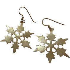 Large Vintage Sterling Silver Snowflake Earrings .925