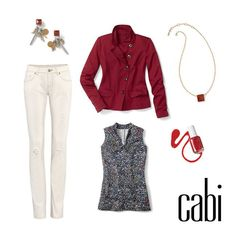 Dive into fall in Spring's ivory Destructed Slim Boyfriend Jeans paired back to the new Outing Jacket and Bowie Tee.  jeanettemurphey.cabionline.com - open 24/7 for your shopping pleasure.