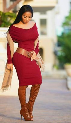Red Knit/Sweater Dress.