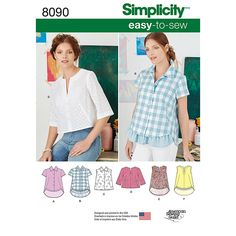 Misses Easy-to-Sew Button Shirt and Pullover Top Simplicity Sewing Pattern 8090.