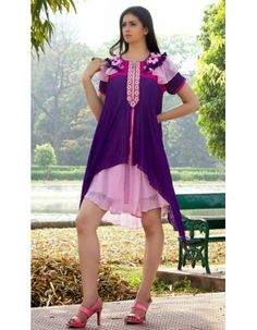 Vivacious Deep Purple & Rose Pink Partywear Kurti Rs.4,948