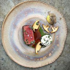 "Daniel Watkins on Instagram: ""Beef & st George mushroom #instagood #photooftheday #igers #iphoneonly #instagramhub #picoftheday #instahub #life #iphonegraphy #food #foodporn #gastroart #chefstalk #TheArtOfPlating @studiomattes @goodfellows_ltd"""