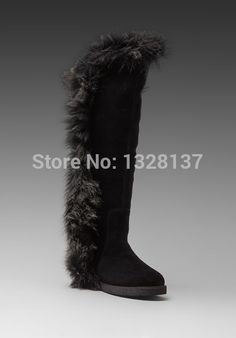 138.99$  Buy here - http://aliz00.worldwells.pw/go.php?t=32724148865 - 2015 New Arrival Knee High Flat Winter Boots Women Black Nubuck Leather Fur Motorcycle Boots Closed Toe Plus Size Women Shoes 138.99$