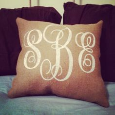 burlap pillows | Burlap Pillow - Monogram - Personalized, Wedding gift, Baby shower ...