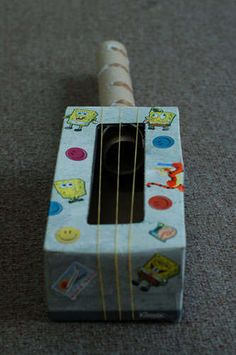 Tissue Box Guitar!    http://www.instructables.com/id/Make-a-Rainy-Day-Tissue-Box-Guitar!---Great-for-Ki/step7/Decorate/