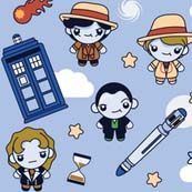 dr who chibi doctors and icons fabric for the corset dress at pendragoncostumes.com - i bought this one today tho they had to order it for me as my size was not in stock.
