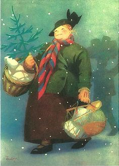 Martta Wendelin Vintage Christmas Cards, Christmas Pictures, Christmas Greetings, Vintage Cards, Ghost Of Christmas Past, Christmas Love, Winter Illustration, Illustration Art, Mary Cassatt