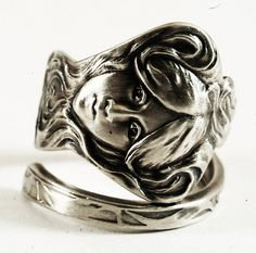 """Greek Goddess an Violet in Sterling Silver Spoon Ring, Extremely Art Nouveau Design """"Daphne"""", Handmade & Adjustable to Your Size (3871)"""
