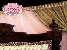 A Romantic Bedroom Retreat with Rowan & FreeSpirit Fabrics: Layered Bed Curtain Backdrop with Velvet Valance | Sew4Home