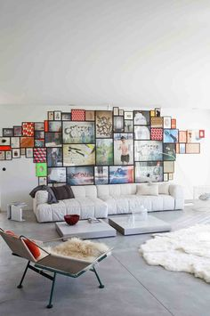 Love the framed photos/art/patterns put together without space around them. Really creates a whole wall art collage.