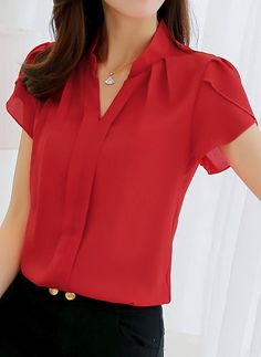 Cheap office blouse, Buy Quality blouses plus directly from China ladies formals Suppliers: 2018 Women Shirt Chiffon Blusas Femininas Tops Short Sleeve Elegant Ladies Formal Office Blouse Plus Size Chiffon Shirt clothing Collars For Women, Blouses For Women, Women Tunic, Lingerie Fine, Work Blouse, Office Blouse, Tie Blouse, Chiffon Shirt, Sleeveless Shirt