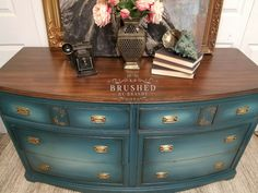 Vintage mahogany dresser finished with Dixie belle paint in caviar, peacock, evergreen, mermaid tail, bunker hill blue custom mix Facebook.com/brushedbybrandy Diy Furniture Decor, Lacquer Furniture, Mahogany Furniture, Chalk Paint Furniture, Refurbished Furniture, Repurposed Furniture, Furniture Projects, Furniture Makeover, Cool Furniture