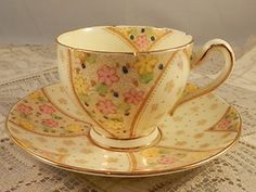 Vintage China Coffee Cup Small Cream Base Pink Floral Wellington Art Deco