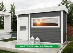 Gartensauna modern: Unsere FinnTherm Gartensauna Magnolia überzeugt mit Ihrem modernen Panorama-Fenster und Flachdach auf ganzer Linie. Schauen Sie sich jetzt Produktdetails an! #Sauna #Gartensauna #Saunahaus Garage Doors, Outdoor Decor, Modern, Home Decor, Sauna Ideas, Flat Roof, Line, Trendy Tree