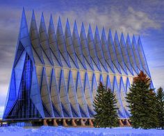 Air Force Academy Chapel. Colorado Springs, Colorado. Walter Nesch. The repeating triangular shape is similar to the shape of a propeller blade. Stunning design.