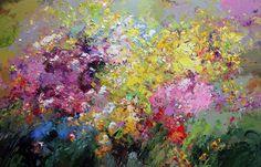 Autor:  Хаттин Валерий - Valery Khattin Técnica: Oil canvas 90x140 cm Título: Flowers, cat's pads