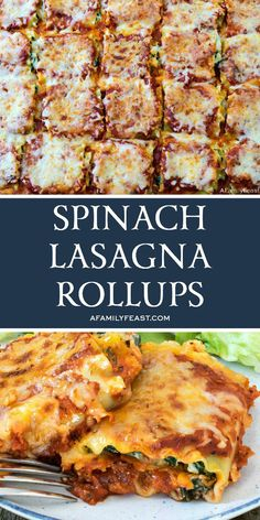 Spinach Lasagna Rollups - A Family Feast® Entree Recipes, Meat Recipes, Healthy Dinner Recipes, Cooking Recipes, Meatless Recipes, Pasta Dishes, Food Dishes, Main Dishes, Recipes