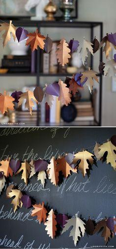 Lia Griffith DIY Fall Paper Leaf Wreath & Garland