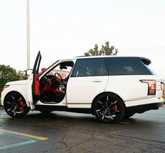 White Range Rover with red interior !