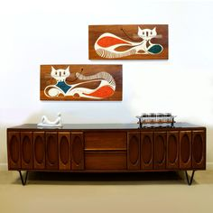 Mid Century Cool! Long credenza with horizontal pair of Mid Century artworks!