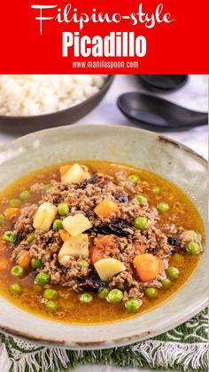 This Instant Pot or Stove Top version of Filipino-style Picadillo is sweet-salty and full of savory deliciousness coming from perfectly seasoned ground beef cooked with vegetables and raisins! The raisins add that subtle sweet element which elevate Ground Beef Filipino Recipe, Ground Beef Recipes Easy, Filipino Food, Filipino Recipes, Filipino Desserts, Beef Soup Recipes, Healthy Soup Recipes, Casserole Recipes, Healthy Dinner Recipes