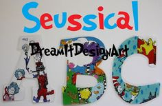 The Seussical Alphabet is a great way to spell FUN! Letters are approximately tall laminated letters (perfect for bulletin boards or moveable classroom art! Alphabet Wall, Letter Wall, Letters, Storybook Nursery, Art Classroom, Bulletin Board, Kids Rooms, Costume Ideas, Playroom