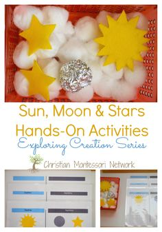 Sun, moon, and stars hands-on activity ideas, party of the Exploring Creation series. www.ChristianMontessoriNetwork.com