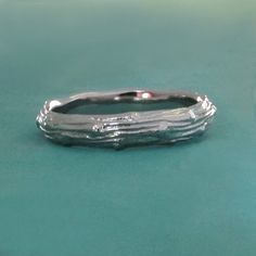 Palladium 950 Twig Wedding Band Wide Pine Branch by esdesigns Twig Wedding Band, Twig Ring, Pine Branch, Scott Jewelry, Band Rings, Woods, Jewlery, Rings For Men, Silver Rings