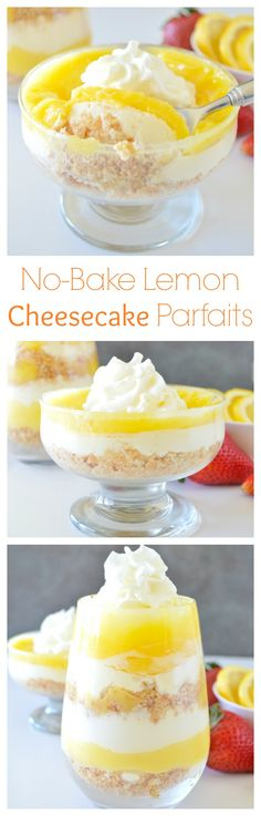 Simple no-bake parfaits layered with a buttery graham cracker crust, sweet no-bake cheesecake, and a tangy lemon curd!
